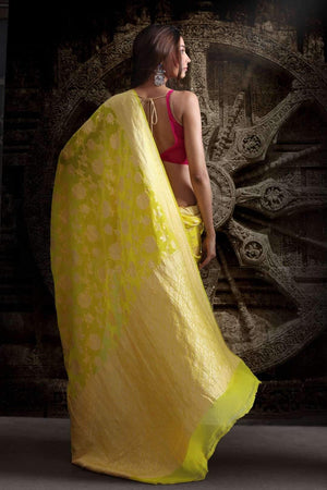 YELLOW CHIFFON SAREES WITH FLORAL DESIGNS