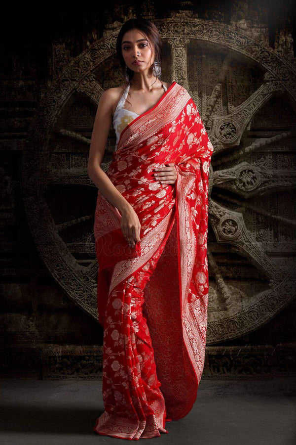 RED CHIFFON SAREE WITH FLORAL DESIGNS