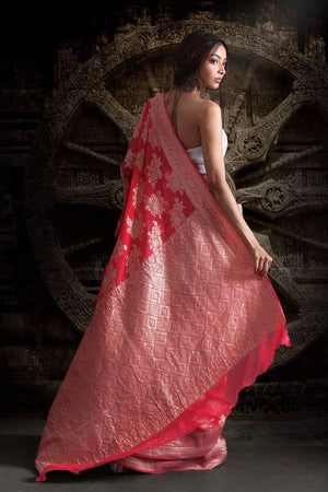 CORAL CHIFFON SAREE WITH FLORAL DESIGNS