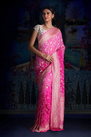 Pink & Fuchsia Half & Half Pure Chiffon Saree With Floral Designs VARANASI CHRONICLES Roopkatha - A Story of Art