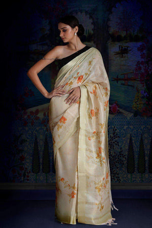 Pale Yellow Digital Printed Linen Saree With Zari Border & Pallu Earthen Collection Roopkatha - A Story of Art