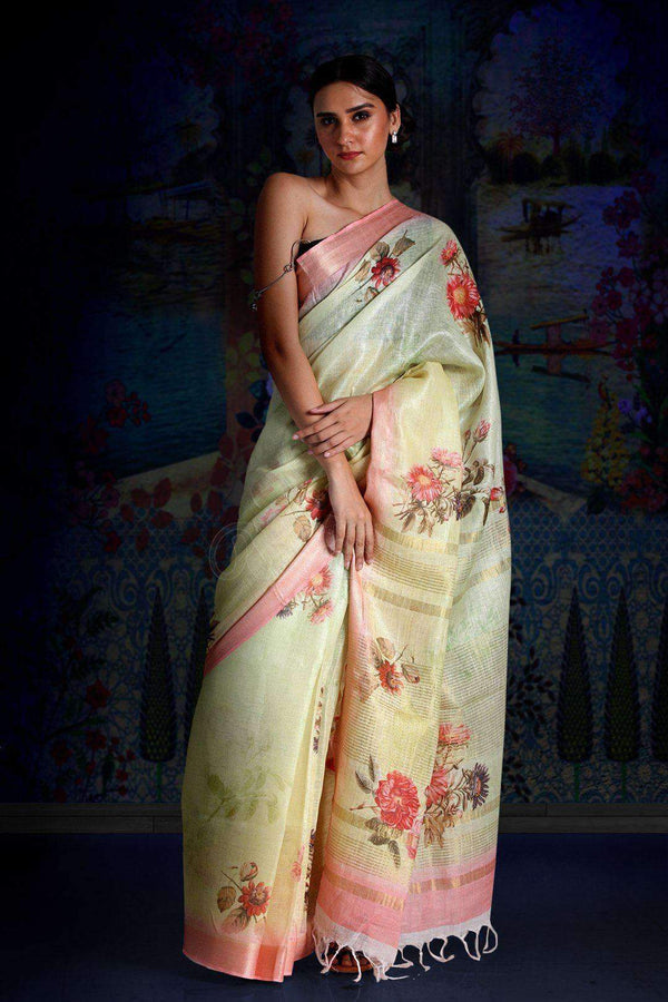Lime Green Digital Printed Linen Saree With Zari Border & Pallu Earthen Collection Roopkatha - A Story of Art
