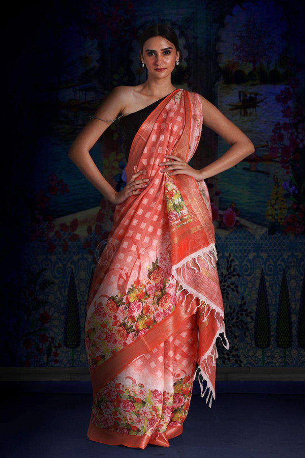 Coral Digital Printed Linen Saree With Zari Border & Pallu Earthen Collection Roopkatha - A Story of Art