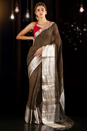 Cedar Brown Linen Saree with Zari Border