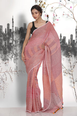 FADED PURPLE LINEN SAREE WITH THREADSTITCH