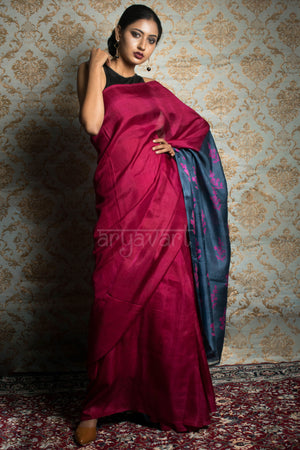 Fuchsia Pink & Grey Block Print Silk Saree