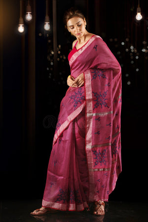 Rouge Pink Resham Linen Saree With Embroidered Designs
