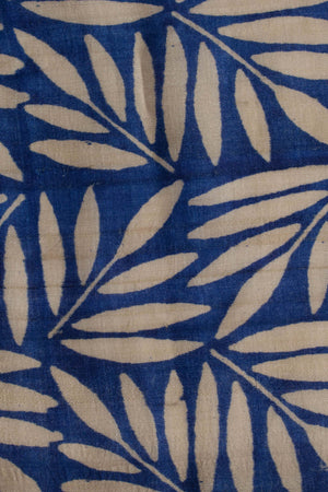 Royal Blue Tussar Silk Saree With Leaf Design Pallu