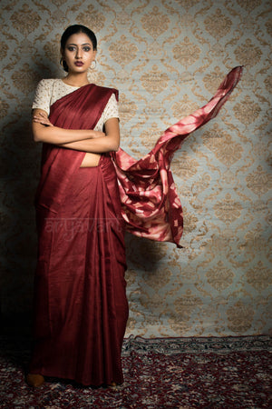 Rust Tussar Silk Saree With a Dramatic Clamp Dye Pallu