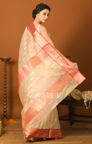 Off White Chanderi Silk Saree with Red Border & Zari Motif