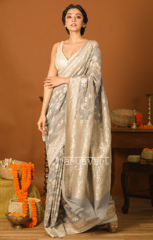 Soft Grey Saree with Silver Zari Floral Weave