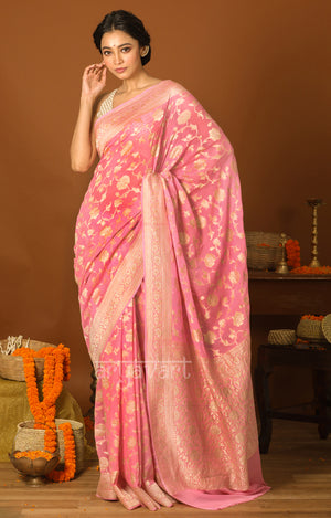 Taffy Pink Saree with Zari Floral Weave