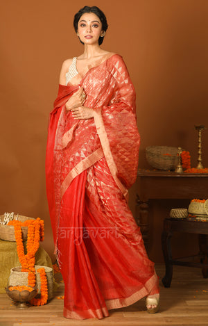 Crimson Red Matka Silk Saree with Geometric Zari Woven Design