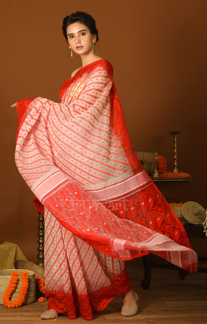 White & Red Jamdani Saree with Traditional Woven Design