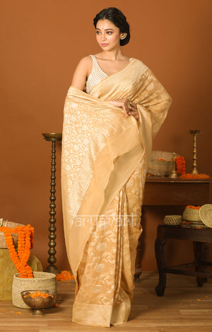 Beige Gold Saree with Zari Floral Weave