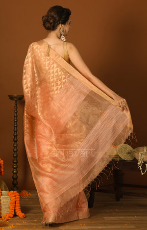 Pretty Peach Matka Silk Saree with Geometric Zari Woven Design