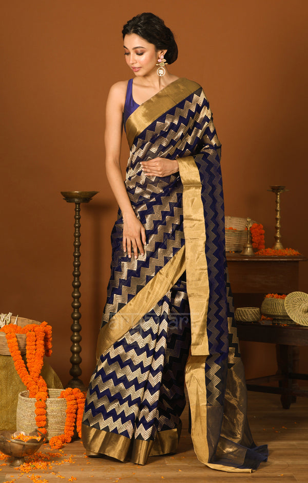 Midnight Blue Chanderi Silk Saree with Gold Zig-Zag Zari Lehria Woven Design