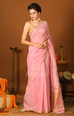 Strawberry Pink Silk Cotton Saree with Gold Zari Checks & Pallu