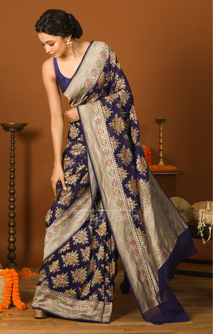 Navy Blue Chiffon Saree with Zari & Minakari Floral Design