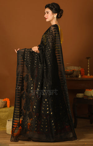 Black & Red Jamdani Saree with Geometric Woven Design & Zari Butta