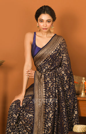Midnight Blue Chiffon Saree with Peacock & Elephant Design