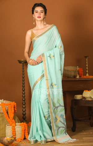 Sky-blue Cotton Saree with Zari Border & Jamdani Woven Design