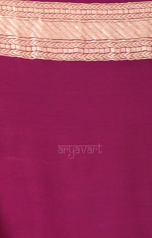 Magenta Saree with Zari Floral Woven Design
