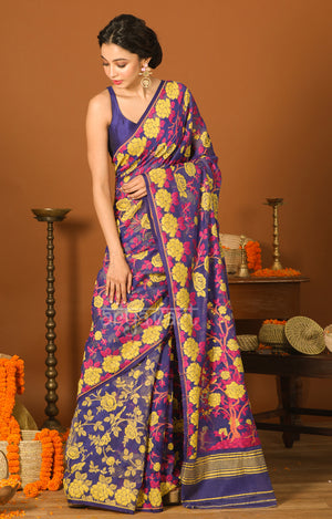 Royal Blue Jamdani Saree with Striking Yellow Woven Rose Design
