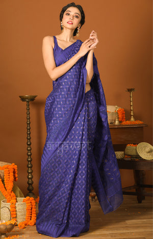 Royal Blue Jamdani Saree with Geometric Woven Design & Zari Butta