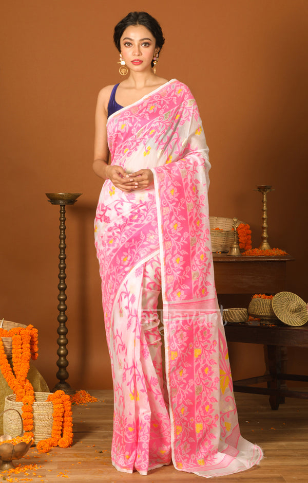 White Jamdani Saree with Pink Woven Flower Design