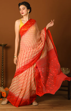 Cream & Red Jamdani Saree with Traditional Woven Design