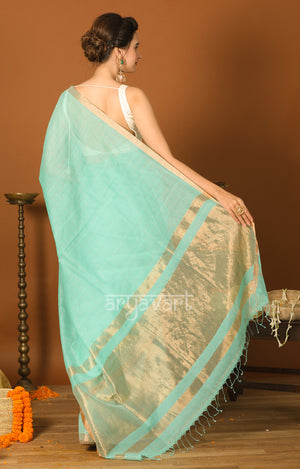 Aquamarine Blue Silk Cotton Saree with Gold Zari Checks & Pallu
