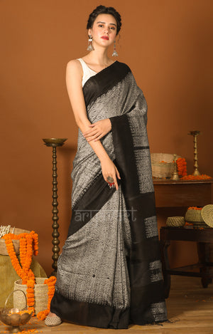 Black & Grey Shibori Matka Silk Saree