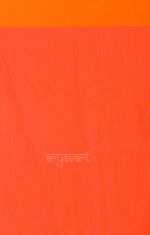 Fuchsia Cotton Saree with Orange Border & Silver Zari Leaf Woven Design