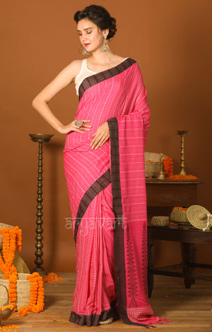 Punch Pink Cotton Saree with Black Border & Woven Design
