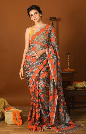 Grey Jamdani Saree with Striking Orange Woven Rose Design