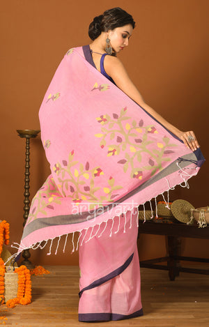 Blush Pink Cotton Saree with Navy Blue Border & Jamdani Woven Design