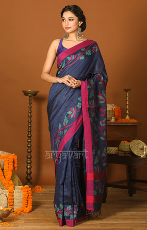 Navy Blue & Pink Matka Silk Saree with Jamdani Design