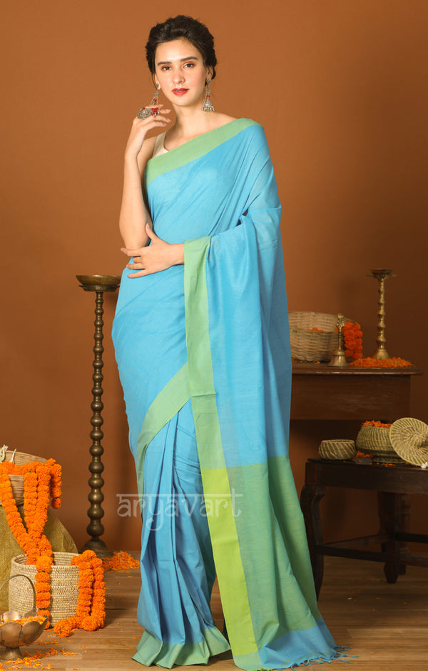 Turquoise Cotton Saree with Green Border