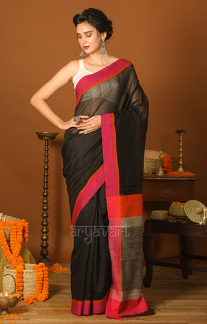 Black Silk Cotton Saree With Mukesh in the pallu