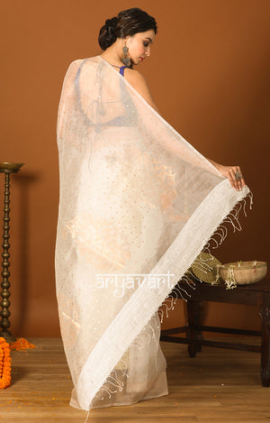 White Silk Saree With Mukesh & Woven Zari Motifs