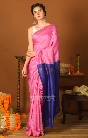 Pink Matka Silk Saree with a Striking Blue Pallu