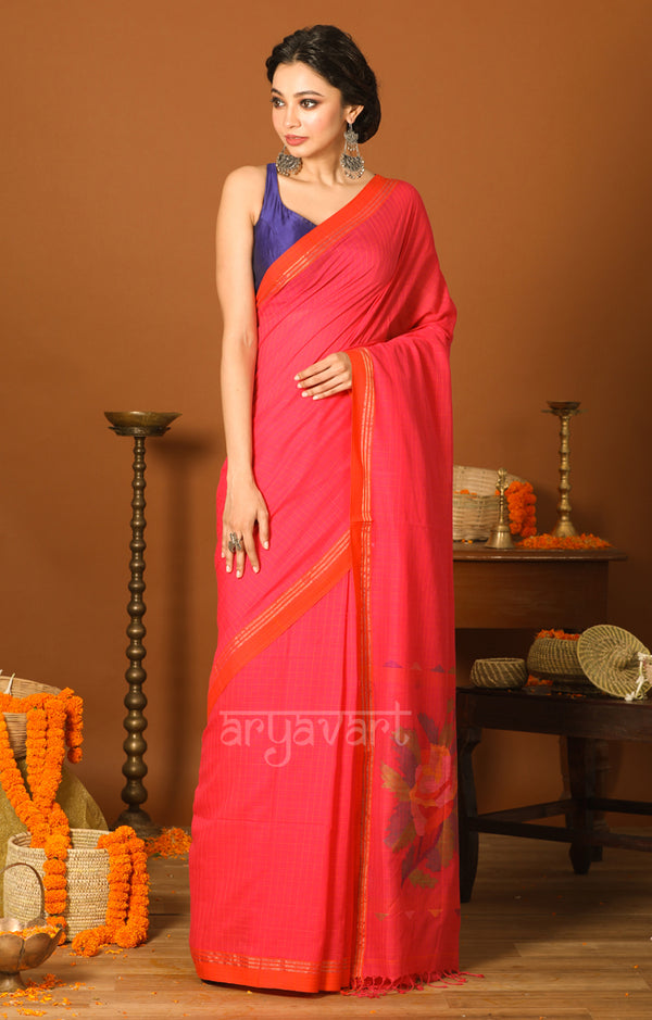 Fuchsia Cotton Saree with Checks & Woven Design