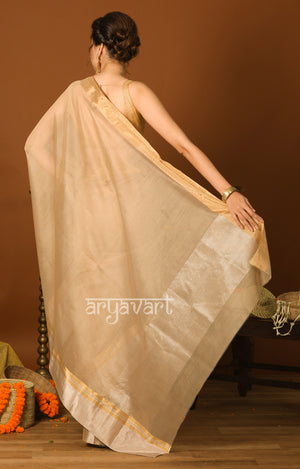 Biscotti Colour Chanderi Saree with Striking Gold & Silver Zari Border