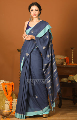 Ink Blue Cotton Saree with Border & Silver Zari Leaf Woven Design