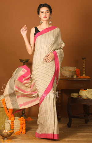 Beige Cotton Saree with Pink Border & Woven Design