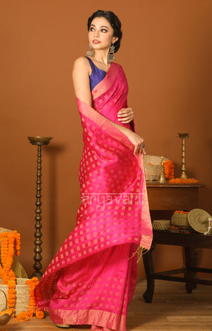 Fuchsia Matka Silk Saree with Zari Cube Woven Design