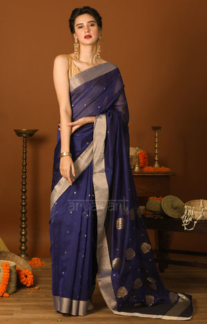 Midnight Blue Chanderi Saree with Woven Zari Butta