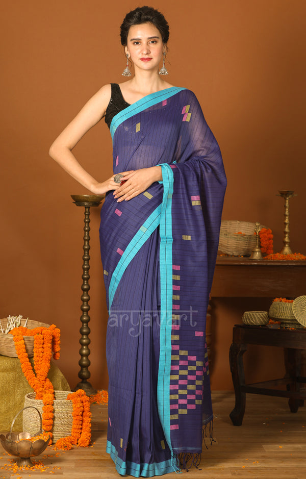 Royal Blue Cotton Saree with Geometric Woven Design