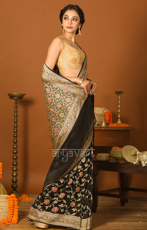 Black Chiffon Saree with Zari & Minakari Floral Design